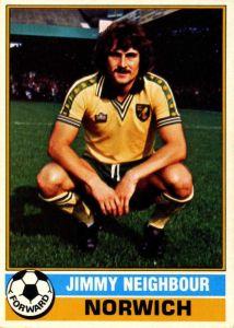 TOPPS-FOOTBALL JIMMY NEIGHBOUR -#028- NORWICH ORANGE BACK 1978